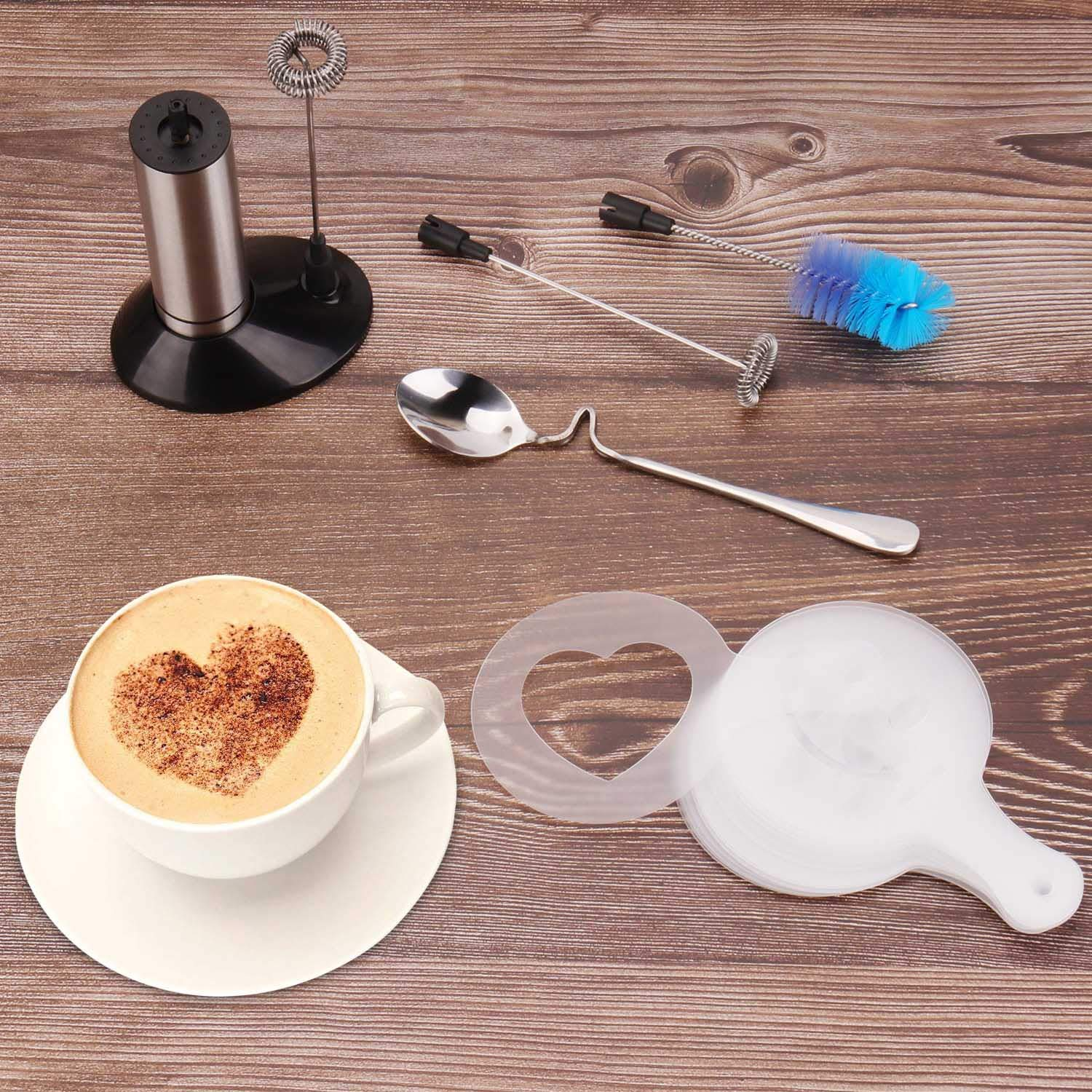 Portable Milk Frother, PEMOTech [3 in 1] Electric Milk Forther with Mix Spoon & 16 PCS Art Stencils, Handheld Frother Foam Maker with Double & Single Spring Whisk Head for Coffee, Cappuccino, Latte by PEMOTech (Image #8)