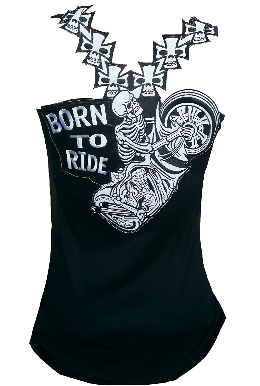 Rockabilly Punk Rock Baby Woman Black Tank Top Shirt Biker Skul Born to Ride