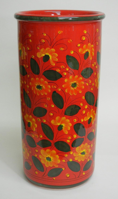 【イタリア製マヨルカ焼】陶器傘立てフラワー柄ピンク H45XФ23cm 22-962332 B0113NBQM8 22-962332