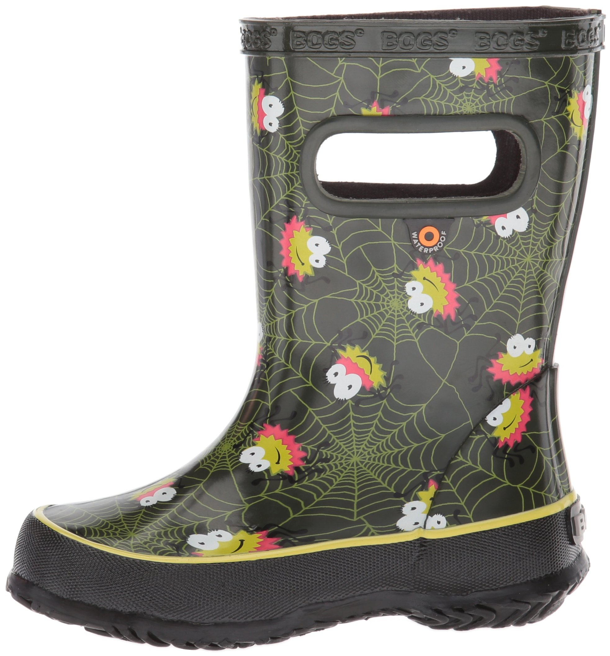 Bogs Kids' Skipper Waterproof Rubber Rain Boot for Boys and Girls,Smiley Spiders/Dark Green/Multi,11 M US Little Kid by Bogs (Image #5)