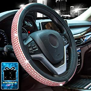 Didida Bling Steering Wheel Cover for Men Women Diamond Crystal Rhinestones Shiny Universal 15 Inch (Red)