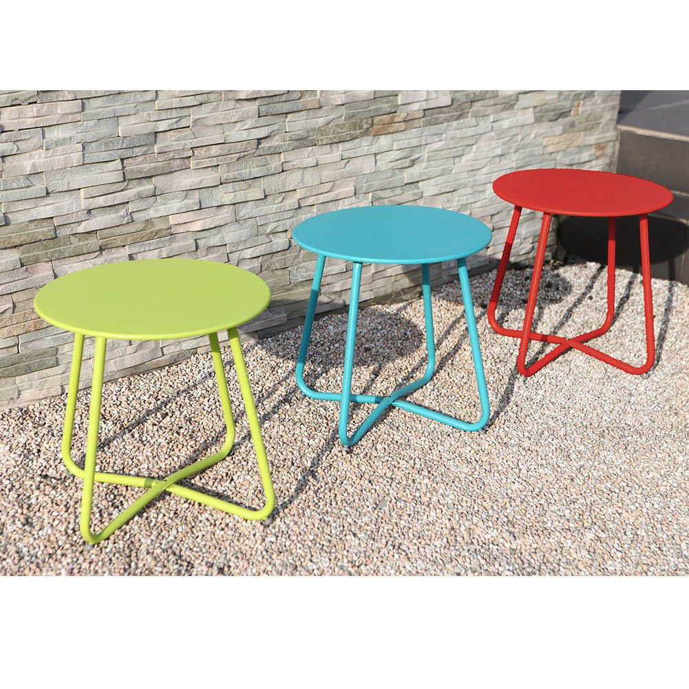 Grand patio Steel Coffee Bistro Table All Weather Outdoor Garden Backyard Ottoman Table, Red by Grand patio (Image #7)