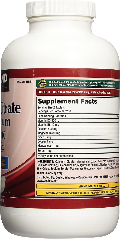 Amazon Com Kirkland Signature Calcium Citrate 500mg 500 Tablets Health Personal Care