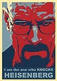 "Breaking Bad Poster - ""I am the one who knocks"" HEISENBERG red blue Poster - Walter White - Bryan Cranston Breaking Bad DVD Poster"