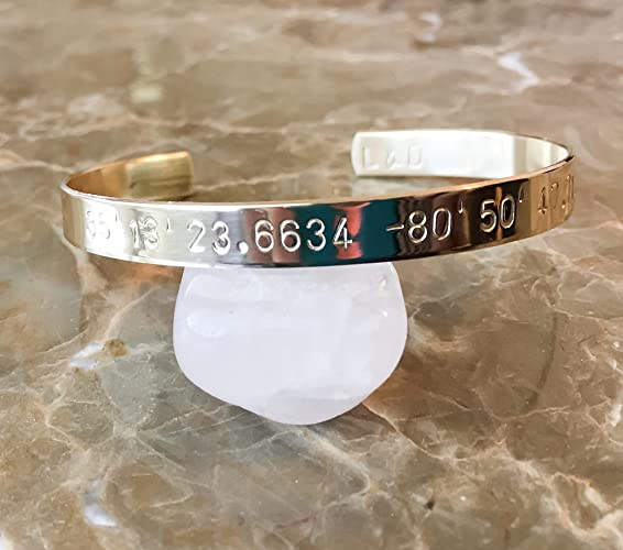 f9a25dde21d73 Amazon.com: Custom Coordinates Brass Bracelet - Customize Your Own ...