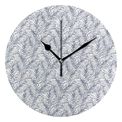 KamBins Silent Non Ticking Wall Clock Palm Tree Pattern Vector 10 Inch Round Decorative Clock Excellent