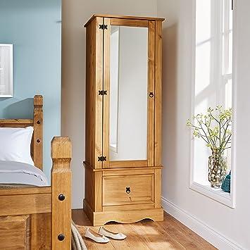 new product 2686f cf6ea Home Source Corona Pine Armoire Wardrobe 1 Door Mirrored 1 Storage Drawer  Solid Wood