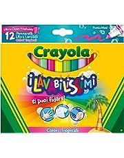 CRAYOLA I Lavabilissimi Pennarelli Ultra-Lavabili, Punta Maxi, Colori Tropicali Assortiti, per Scuola e Tempo Libero, 12 Pezzi 58-8335