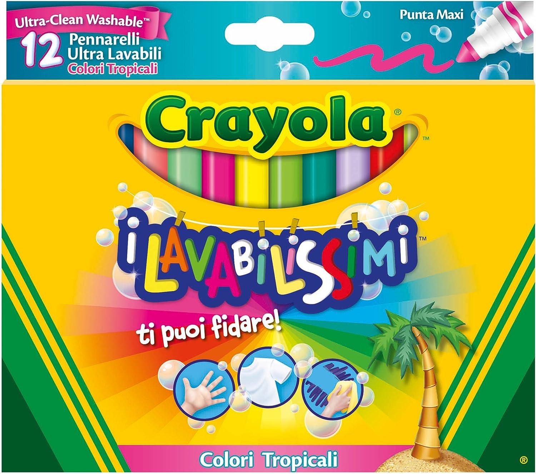 Punta Fine 12 Pezzi per Scuola e Tempo Libero Colori Assortiti 58-8331 CRAYOLA-I Lavabilissimi Pennarelli Ultra-Lavabili