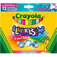 CRAYOLA I Lavabilissimi Pennarelli Ultra-Lavabili, Punta Maxi, Colori Tropicali Assortiti, per Scuola e Tempo Libero, 12 Pezzi, 58-8335
