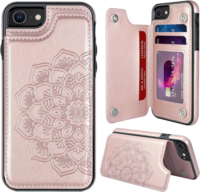 MMHUO for iPhone 7/8/SE 2020 Case with Card Holder,Flower Magnetic Back Flip Case for iPhone 7/8/SE 2020 Wallet Case for Women,Protective Case Phone Case for iPhone 7/8/SE (2nd Generation),Rose Gold