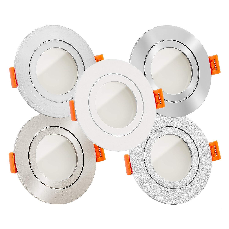 10x LED Bad-Einbaustrahler Aluminium rund 230V   IP44 & flach 25mm   DIMMBAR   6W statt 70W   120° Abstrahlung   warmweiß 3000K   versch. Farben zur Auswahl (-  Passender Funkdimmer)