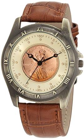 amazon com steiner men s cn001g as round wheat penny steiner men s cn001g as round wheat penny antique copper collectors coin watch