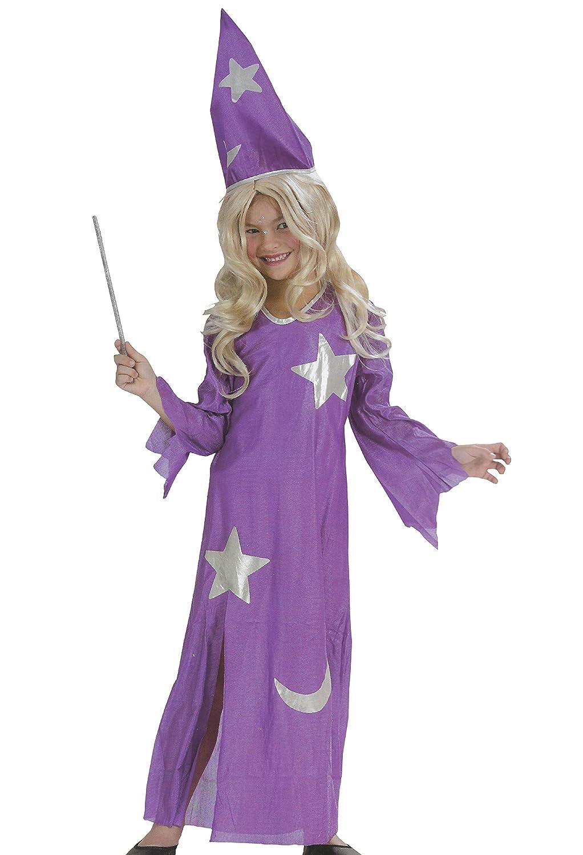 Zauberin Kinder Karneval Halloween Kostum Kleid Lila Fasching Hexe