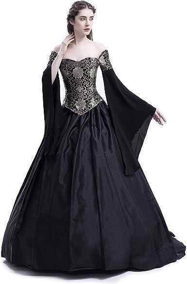 D Roseblooming Black Vintage Renaissance Wedding Dress Gothic