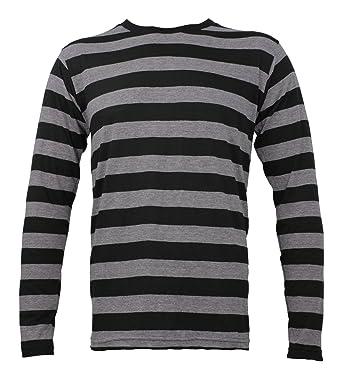 321473c118 Largemouth Striped Long Sleeve Shirt Black Stone Grey Adult | Amazon.com