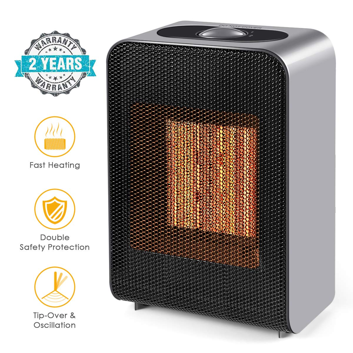 Portable Space Heater, Indoor 750W/1500W Ceramic Electric Heater for Home/Office/Bedroom and Bathroom with Adjustable Thermostat, Personal Desk Heater