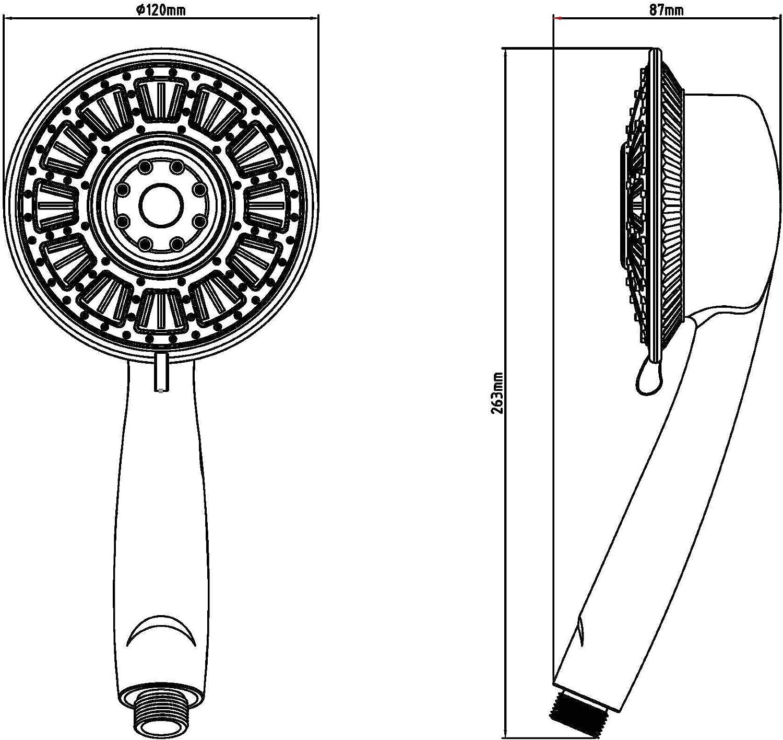 EISL DX7060 Ducha manual con iluminaci/ón LED Yllumi