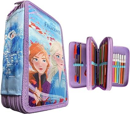 Dor Estuche Frozen 3 Compartimentos con Cremallera Material Escolar 18 Lápices de Colores, 18 Rotuladores: Amazon.es: Oficina y papelería