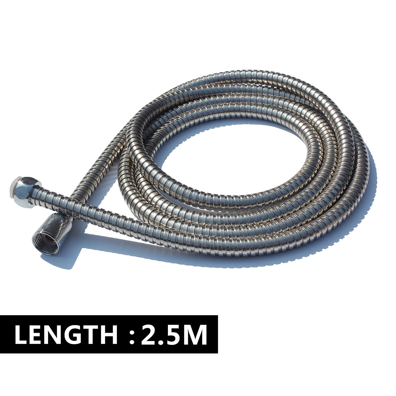 Anti-Explosion Leakproof Flexible Stainless Steel 2.5-Meter Extra Long Shower Hose Flexible Anti-kink Stainless Steel Replacement Shower Pipe Chrome LLRY