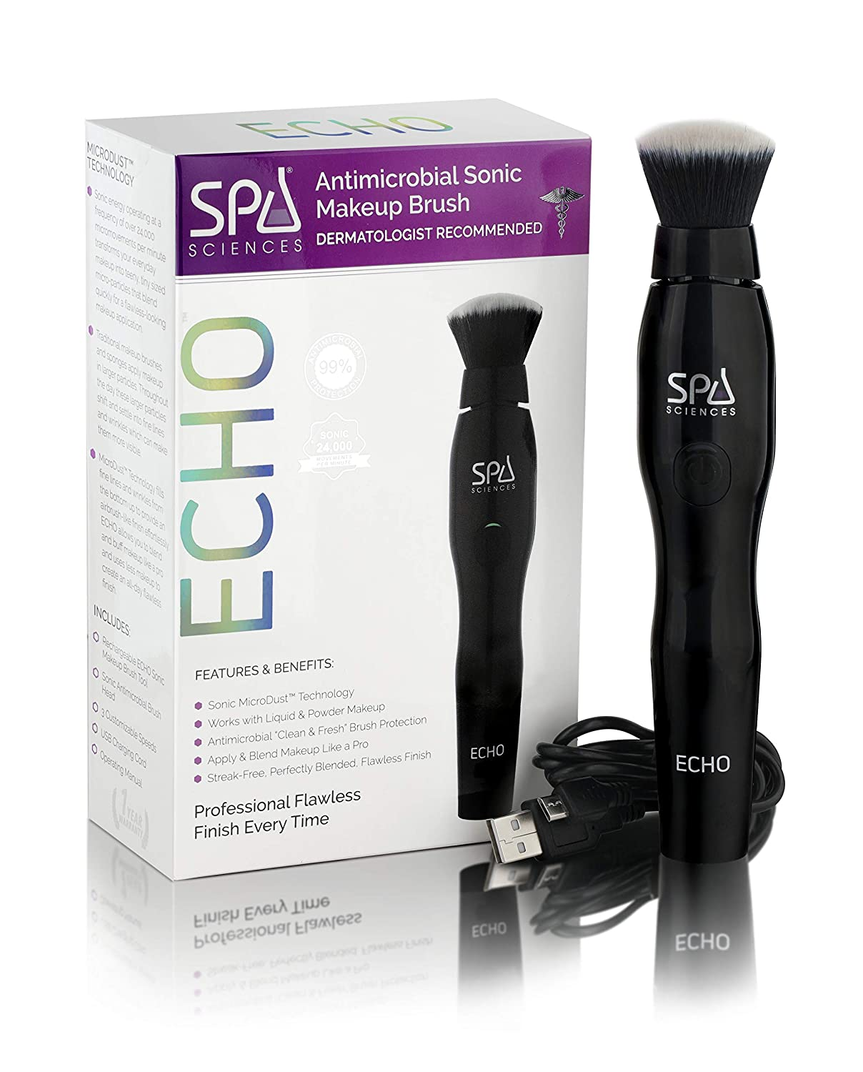 Spa Sciences ECHO Patented, Antimicrobial, Sonic Makeup Brush for Flawless Blending, Contouring, Highlight & Airbrush Finish