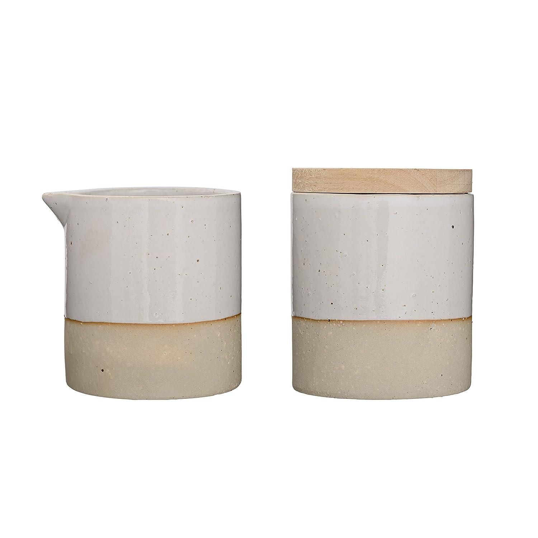 Bloomingville Ceramic Barbara Sugar and Creamer Set, White A27104018