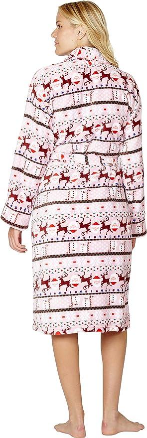 INTIMO Womens Pink Fair Isle Holiday Robe