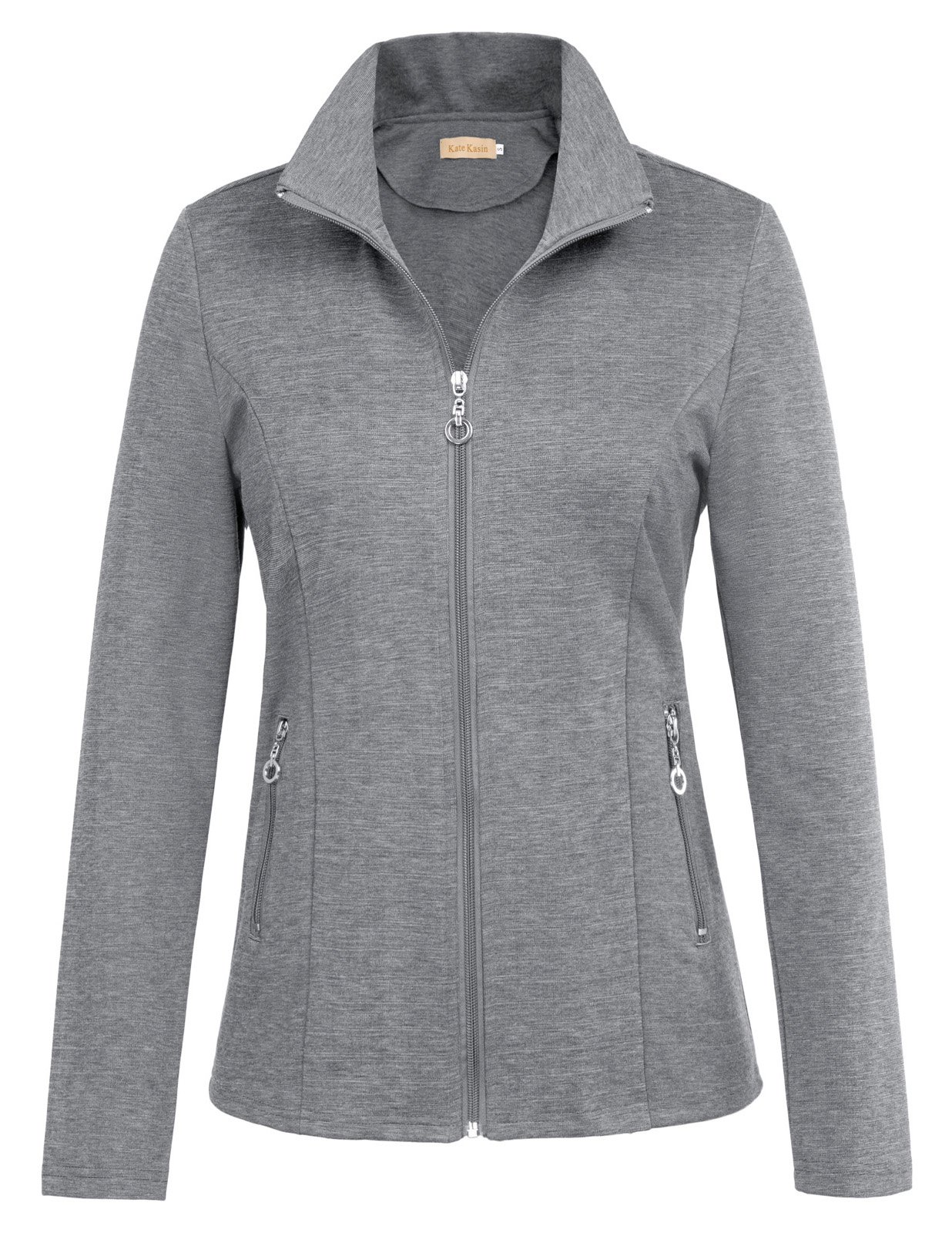 Kate Kasin Sudaderas Para Mujer Plus Size Lightweight Outdoor Active Sports Jackets Coat for Women (2XL,Gray)