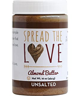 Spread The Love UNSALTED Almond Butter, 16 Ounce (All Natural, Vegan, Gluten