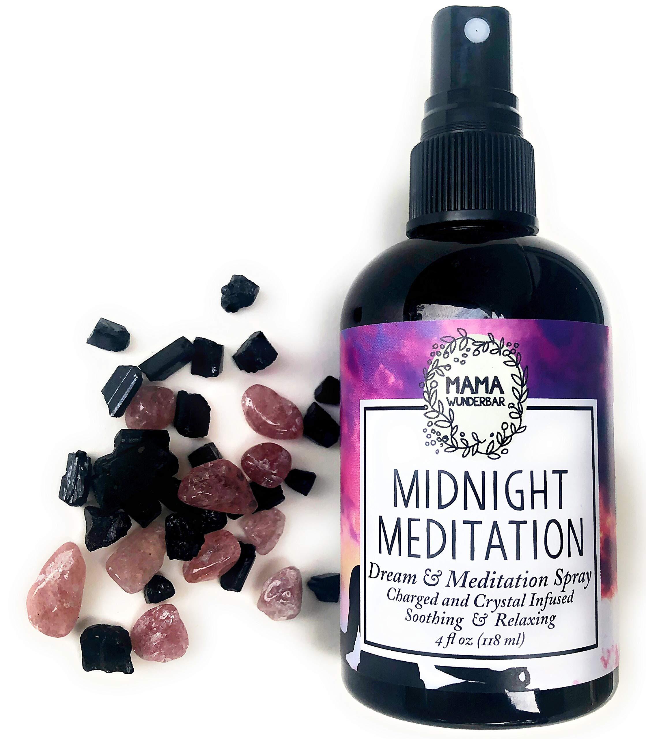 MAMA WUNDERBAR Sleep Spray Midnight Meditation - Dream Spray - Linen, Lavender, Tulsi, Elemi. Crystal Infused Pillow Mist. by MAMA WUNDERBAR