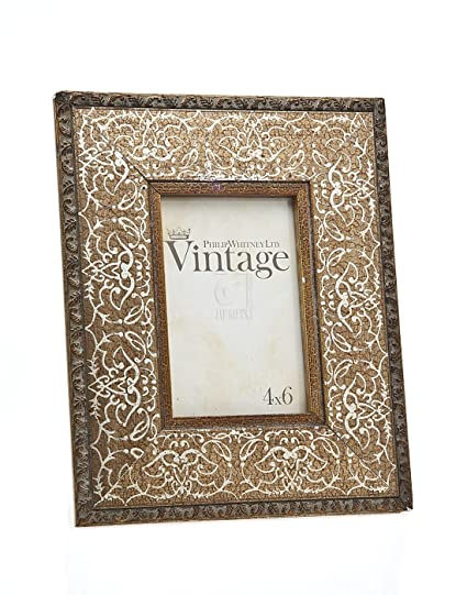 Amazon Philip Whitney 4x6 Rugged Vintage Wooden Gold Scroll