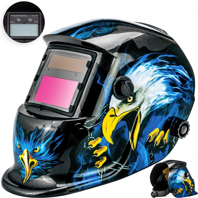 Masko Automatik Schweiß helm | groß es Sichtfeld | fü r alle gä ngigen Schweiß techniken - Schweiß maske Schweiß schirm Solar Schweiß schild Schutzhelm , Helm mit Polsterung , | gegen Funken, Spritzer oder Stra