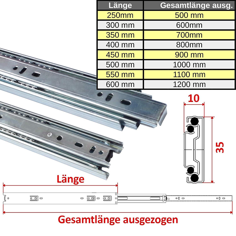 L/änge: 250 mm 1 Paar 1 Paar 35 mm Teleskopschienen Schubladenschienen Schubladenauszug Vollauszug