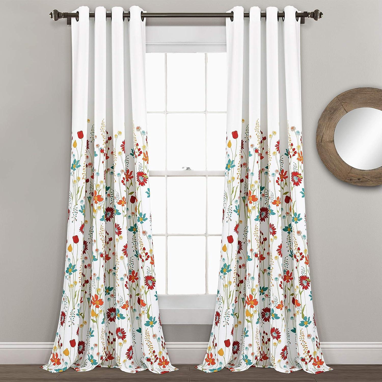 Lush Decor Clarissa Floral Room Darkening Window Curtain Panel Pair, 84