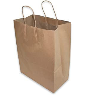 Amazon.com: 50 Paper Retail Grocery Bags Kraft with Handles ...