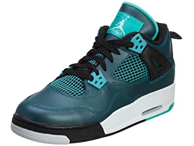 Nike Mens Air Jordan 4 Retro 30th BG Teal Teal White-Black Leather Size e229f6a04