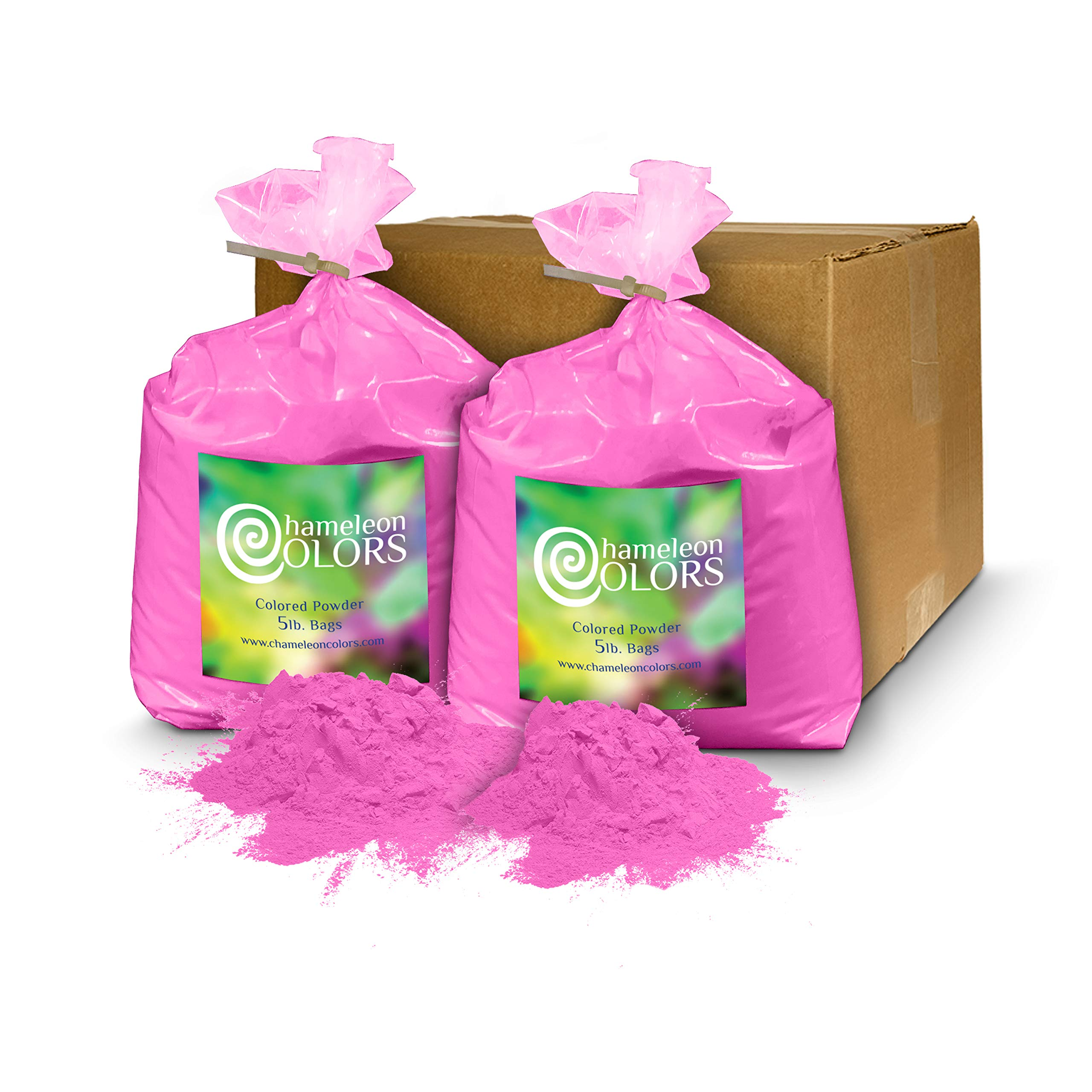 Holi Color Powder Gender Reveal by Chameleon Colors – 10 lbs Pink. Same premium, authentic product used for a color run, 5k, etc.