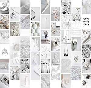 8TEHEVIN 50PCS White Neutral Light Grey Aesthetic Pictures Wall Collage Kit, Trendy Small Poster for Dorm, Grey White Style Wall Art Print, Aesthetic Photo Collection, Bedroom Decor for Teens Boy Girl