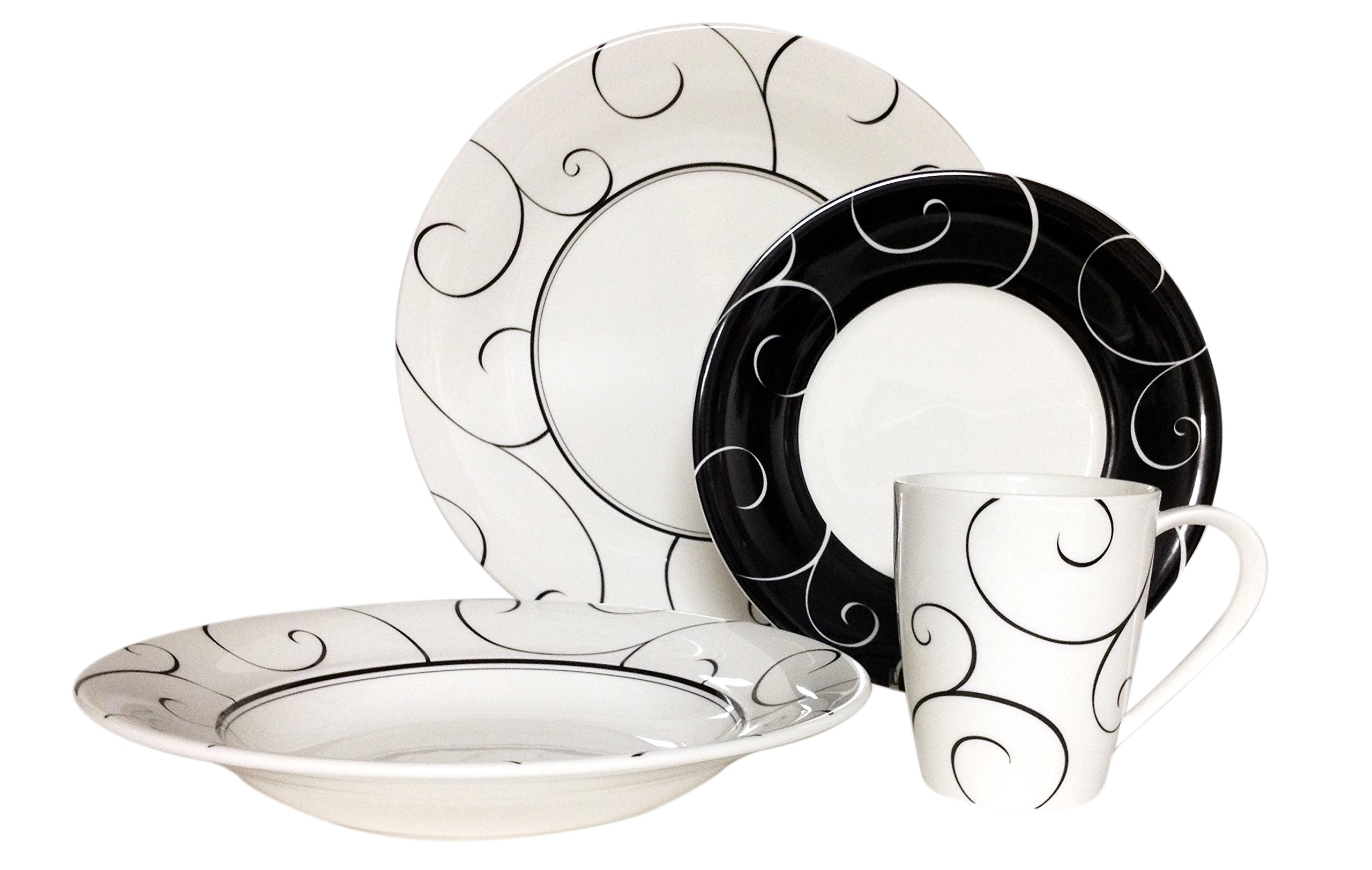 Red Vanilla FP008-116 16 Piece Panache Dinner Set, White