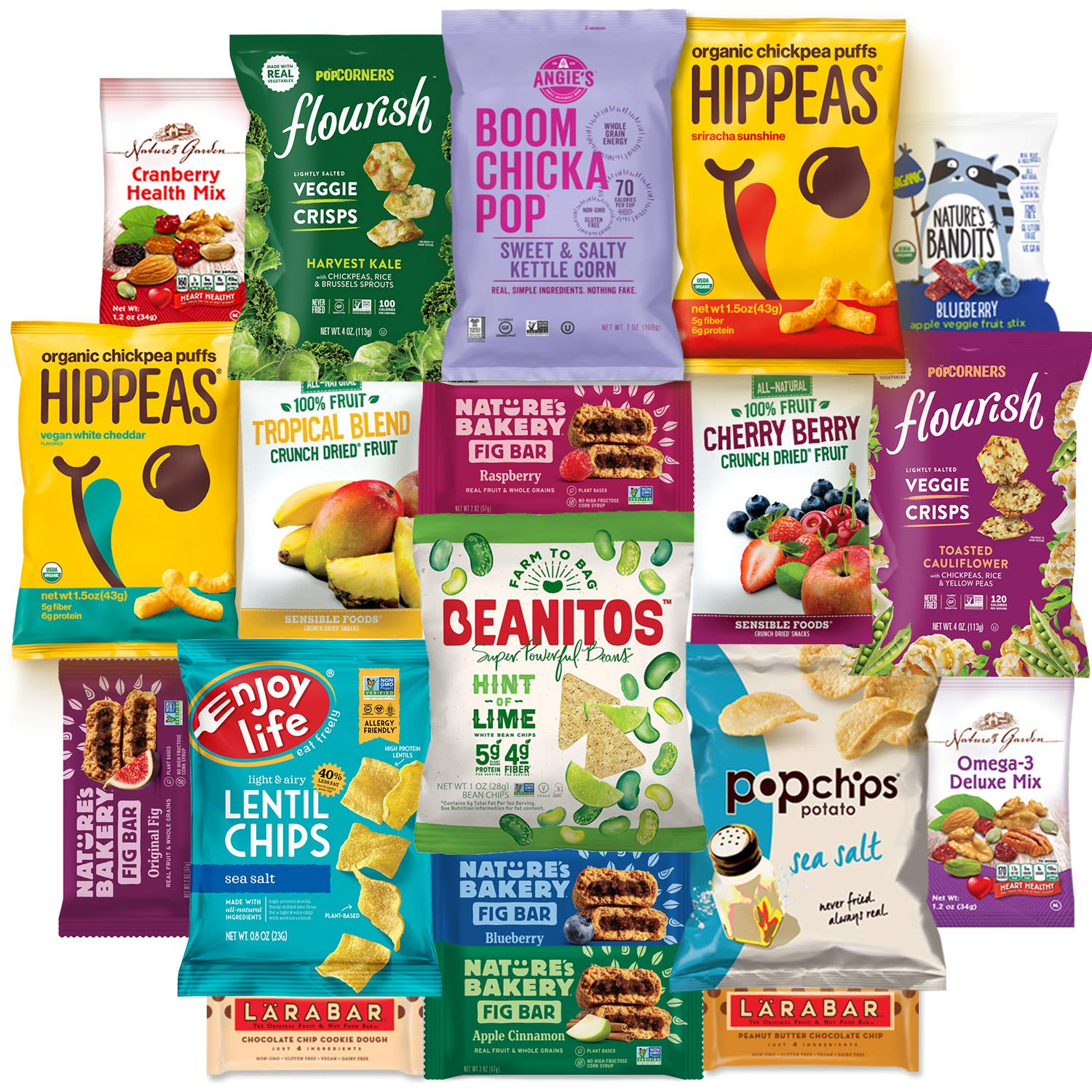 Healthy Vegan Snacks Care Package Snack Gift Box (20 Count) : Mixed Premium Set of Nuts, Bars, Chips, Chickpeas and Fruit Snacks - Multiple Flavors Sampler Variety Pack