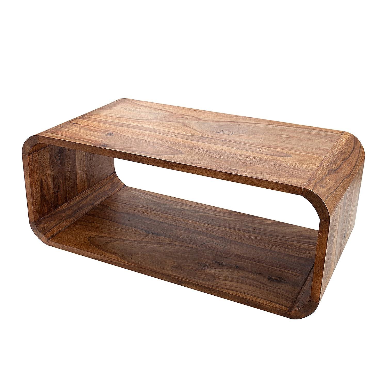 Invicta Interior Massiver Holz Couchtisch Cube 100cm Sheesham Stone Stone Stone Finish TV-Board Beistelltisch Massivholz Tisch Holztisch 169baa