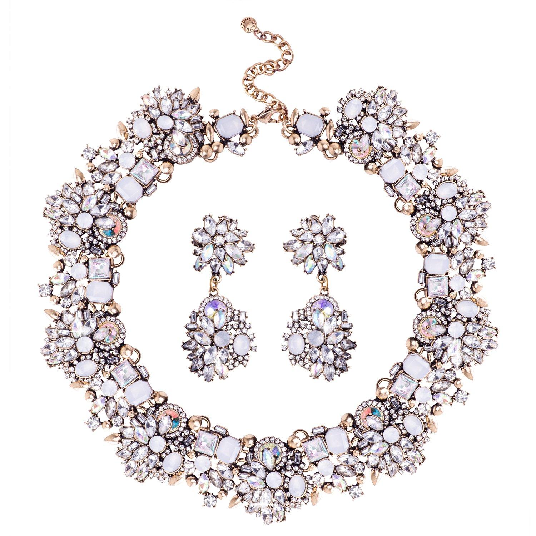 Jane Stone Fashion Gold Collar Necklaces Bling Rhinestone Jewelry Set for Women Girls(Fn1389-White)