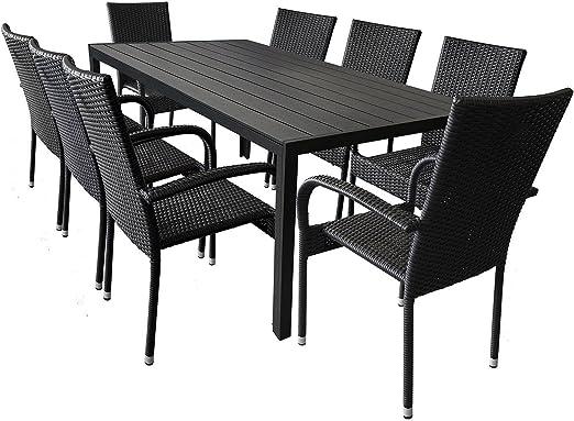 wohaga® 9 piezas). Mobiliario de jardín aluminio jardín mesa con ...