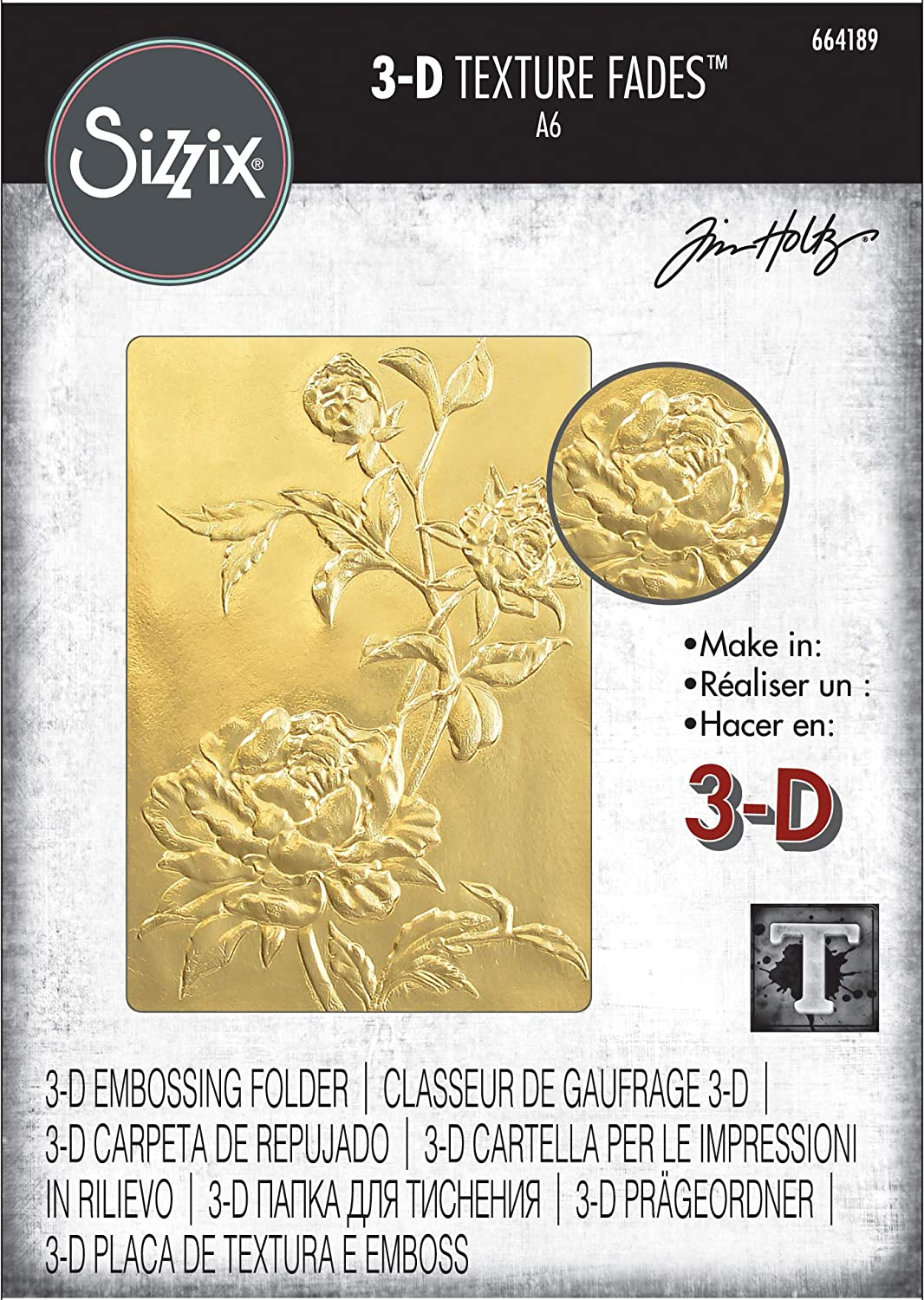 Sizzix 3-D Texture Fades Embossing Folder 664189 Roses by Tim Holtz Multicolor