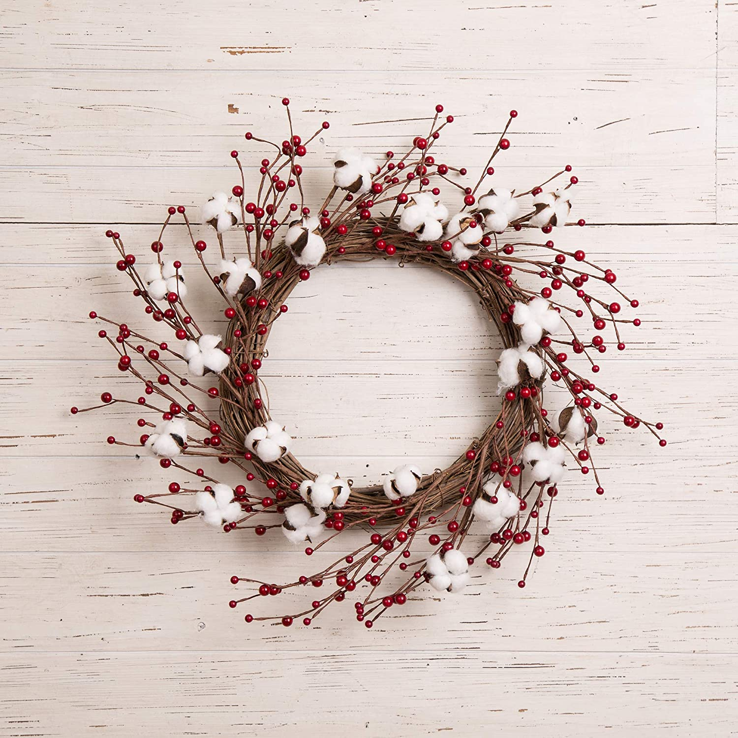 Amazon Com Glitzhome Artificial Cotton Boll Wreath Fall Wreaths For Front Door Indoor Wall Decor 22 Inch Decorative Harvest Garland With Berries Home Kitchen