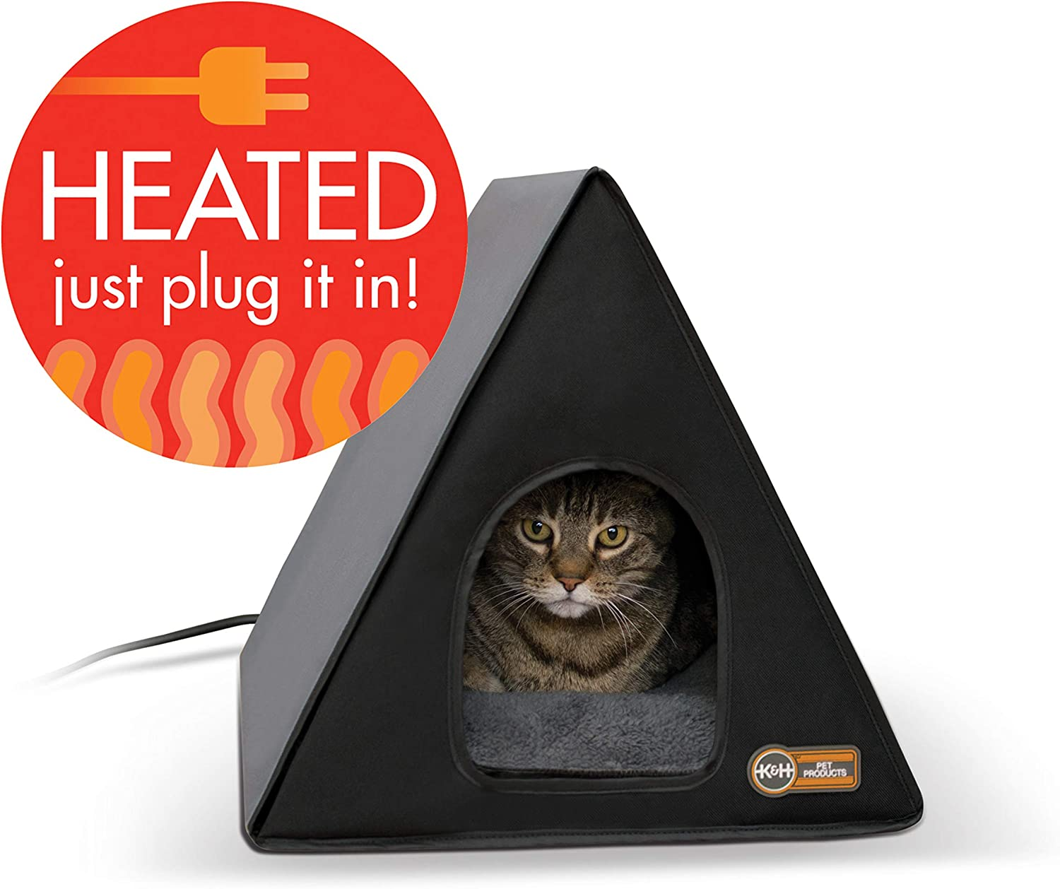 K H Pet Products Heated A Frame Gray Black 18 X 14 20w Indoor Outdoor Shelter Pet Supplies