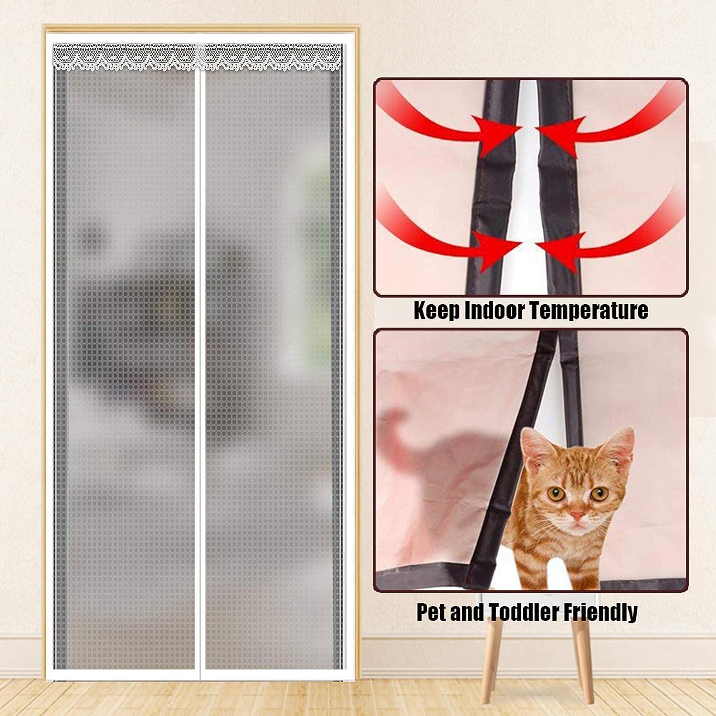 Liveinu Isolamento Termico Tenda Magnetica Per Porte Zanzariera Magnetica Con Thermo Per Camera Climatizzata Impermeabile Rete Anti Zanzare Pattern Quadrato 120x220cm Bianco