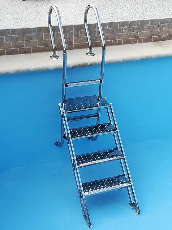 Dahlia Escalera de Piscina Adaptable a su Escalera de 4 peldaños de Acceso facil para Personas con Movilidad Reducida: Amazon.es: Jardín