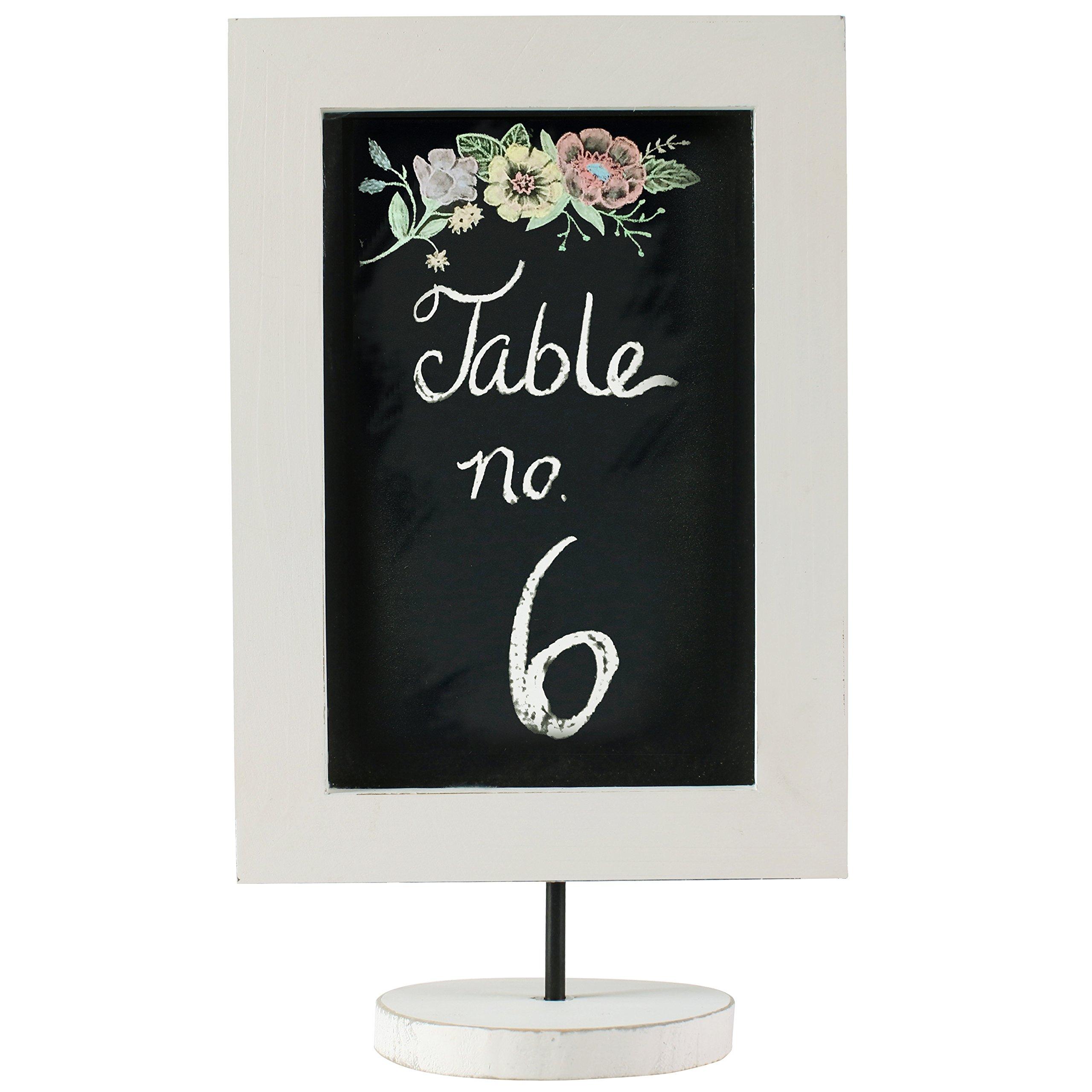 12 Inch Vintage Whitewashed Wood Framed Blackboard, Tabletop Chalkboard Sign, Cafe Menu Board