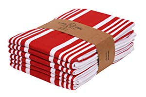 Urban Villa Kitchen Towels,Trendy Stripes, 100% Cotton Dish Towels, Mitered Corners, (Size: 20X30 Inch),Chilli Red/White Highly Absorbent Bar Towels & Tea Towels - (Set of 6)